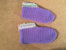 Hand Knitted Slipper Booties Ladies Gorgeous Violet Color Socks approx size 8-9