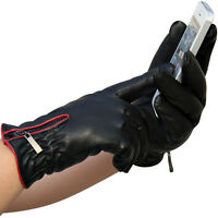 Winter Mens Black Genuine Leather Driving Comfortable Warm Lining Gloves