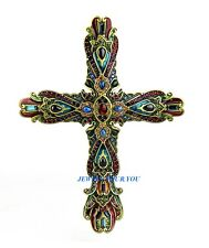 JAY STRONGWATER BEAUTIFUL PALAIS RUSSE LARGE CROSS ONYX & LAPIS SWAROVSKI NEW