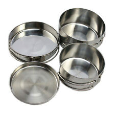 4x Stainless Steel Outdoor Camping Cookware Backpacking Cooking Picnic Pot Pan