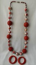 "Chinese Cinnabar Shou and Painted Ceramic Bead Longevity Necklace 30"" & Earrings"