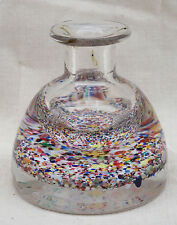 Bohemian Art Glass Inkwell Paperweight Multicolor Canes 1920