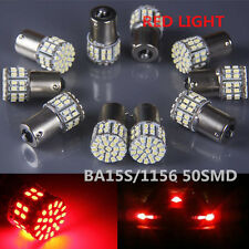 10X BA15S 50 SMD LED - BRIGHT RED 1156 Brake Reverse Light Bulb Globe Lamp 12V