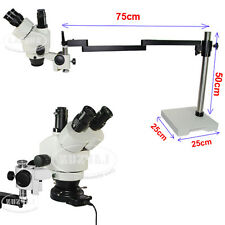 Long Arm Stand 7X-45X Trinocular Industry Inspection Zoom Stereo Microscope Set
