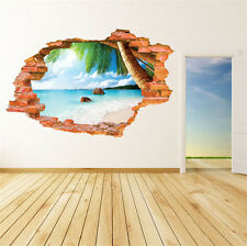 3D Beach Scenery Removable Wall Sticker/Decal Home/Rome Decoration Brand New