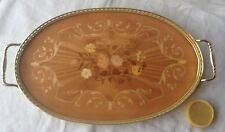 Italian Oval Wood Tray W/ Floral Inlay Pattern Metal Rail Handles, Made in Italy