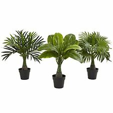 Nearly Natural 6867-S3 Areca- Fountain & Banana Palm Tree (Set of 3) NEW