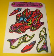 Vintage SandyLion FUZZY Dragon Design-a-Tattoo~Scratch & Sniff Sticker~Mod~RARE