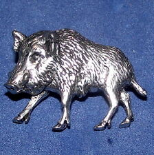 New Pewter Wild Boar Pig Hunting Shooting Brooch Pin