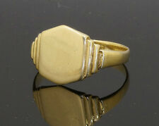 9Carat Yellow Gold Signet Ring Plain (Size V) 10x12mm Head