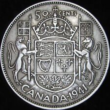 1941 XF Canada Silver 50 Cents - KM# 36 - Free Shipping - JG