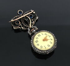 Antique 5.5ct Rose Cut Diamond & 3.5ct Sapphire Silver & Gold Pocket Watch & Fob