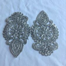Sew On Patches Applique Patch Diamante Beaded Indian Lace Trim Neckline Motif