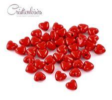 30 Perles intercalaire Acrylique Cœur Rouge glamour