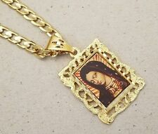 Lady's Cuban Chain & Lady Sorrows Picture Charm Set Yellow Gold Plated Dolorosa