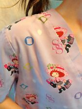 STRAWBERRY SHORTCAKE Scrub Top Womens MEDIUM Purple Shopping Short Sleeve