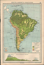 1936 MAP SOUTH AMERICA VEGETATION COLUMBIA BRAZIL FOREST MOUNTAINS DISTRIBUTION