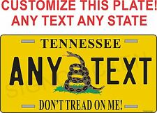 FLAG METAL LICENSE PLATE DON'T TREAD ON ME customized with any state any text