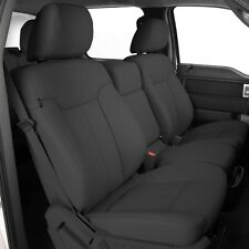 KATZKIN LAPIS GREY STEEL LEATHER SEAT COVERS 2013 2014 FORD F 150 SUPER CREW XLT