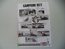 advertising Pubblicità 1978 CHAMPION e BARRY SHEENE/NIKI LAUDA/FIAT ABARTH/NIETO