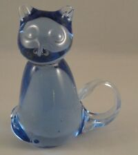 "ART GLASS Cat Clear Blue Blown Curly Tail 3.75"" Figurine Paperweight Kitten"