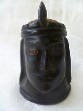 Antique Asian Carved Horn Figural Snuff Bottle Container Chieftain Head