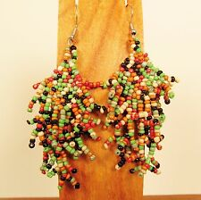 "2 1/2"" Multicolor Bohemian Style Handmade Chandilier Dangle Seed Bead Earring"