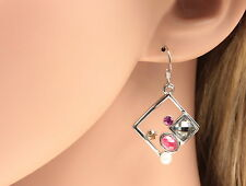 only 1 pink topaz gray crystal dress fashion dangle rhombus hook earrings R20