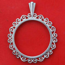 Solid 925 Sterling Silver Coin Bezel Mount Frame Settings Fit US Quarters 24mm