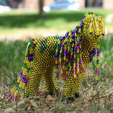 GOLDEN CHRISTMAS HORSE by DENISE & FARON GCHACHU - ZUNI NATIVE AMERICAN BEADWORK