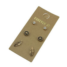 3Pairs New Forever21 Flower Leaves Stud Earrings Gift FS Women Jewelry Vintage