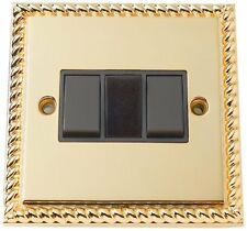 Georgian Brass 3 Rocker 3 Gang 2 Way Switch Wall Light