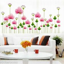 PINK FLOWERS KIT STICKERS REMOVABLE PLAYROOM WALL ART STICKERS HOME DECORATION