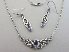 Sterling Amethyst Pendant Necklace 18 in with Earrings Celtic Weave 10.6g [2740]