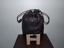 Pre-Owned Women's Wilsons Leather Black Leather Drawstring Hobo Shoulder Bag