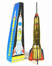 Vintage Mechanical Action Rare Color Metal Rocket Ship East European HOLDRAKETA