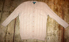 GRIFFEN 100% Cashmere Cardigan Beige Cable Knit 3/4 sleeves Round neck UK 10
