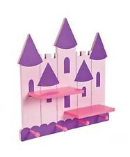 "Pink & Purple Princess Castle Wall Shelf & Hooks Bedroom Bath Decoration 20""H"