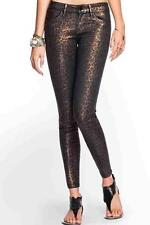 NEW WOMENS GUESS BRITTNEY ANKLE SKINNY LEOPARD ANIMAL PRINT COATED JEANS 4 27