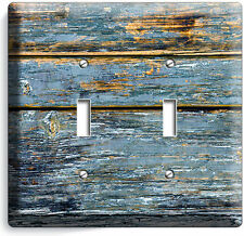 RUSTIC CHIPPED PAINT CRACKED WOOD DOUBLE LIGHT SWITCH WALL PLATE COUNTRY CABIN
