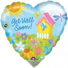 "Get Well Soon Balloon 18"" Heart Shaped flowers bird house foil mylar"