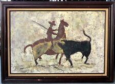 """Mid Century Impressionist Signed """"COHEN"""" Spanish Bull Fight Oil On Canvas 36"""""""
