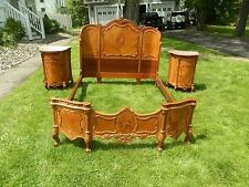 SPECTACULAR ART DECO PERIOD INLAID BEDROOM SUITE W/LINNEN CHEST & BEDSIDE TABLES