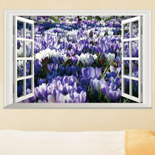 Window View Flower Tulip Wall Sticker Mural Home Decal Room Decor Removable PVC