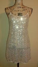Intimately Free People Sheer Tunic Mini Dress with Gold Sequins Size S
