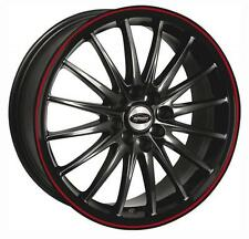 "17"" TEAM DYNAMICS JET GLOSS BLACK RED LIP ALLOY WHEELS ONLY 4 STUD ET38"
