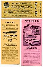 1970s Vintage L.A. CAR SHOWS - 3 Diff Original Discount Coupons