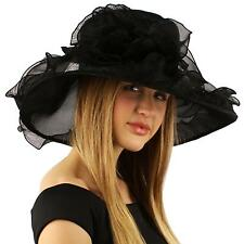 Elegant Kentucky Derby Floppy Ruffle Organza Pleated Flowers Church Hat Black