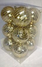 Set of 12 Christmas Holiday GOLD Disco Ball Ornaments Mirror Ball Glitter