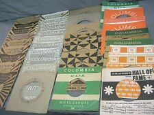 36 EARLY COLUMBIA LABEL COMPANY SLEEVES FOR 45 RPM RECORDS - 50s & 60s designs